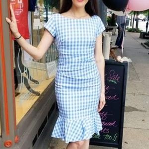 Sara Campbell Gingham Powder Blue Fluted Hem Dress